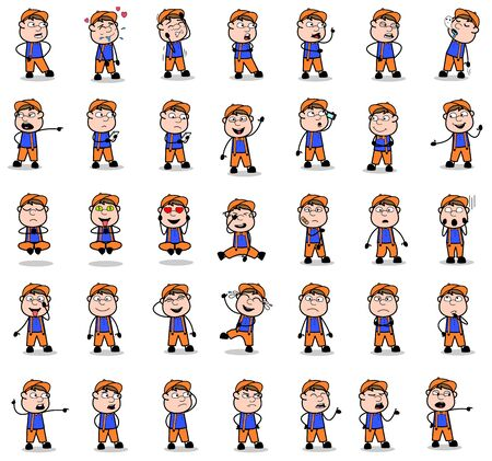Comic Carpenter Poses - Collection of Concepts Vector illustrations 向量圖像