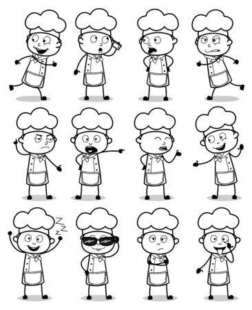 Comic Chef Characters Poses - Set of Concepts Vector illustrations