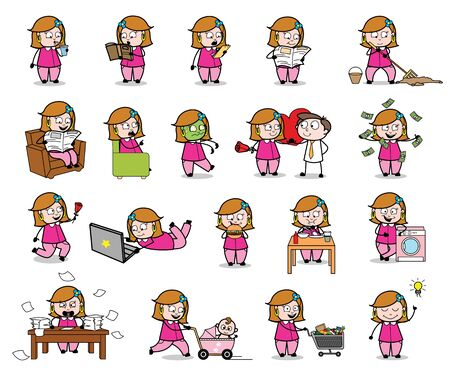 Housewife - Set of Concepts Vector illustrations