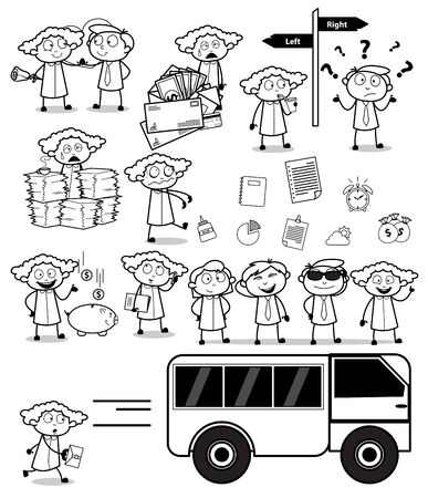 Drawing Set of Office Lady - Set of Concepts Vector illustrations