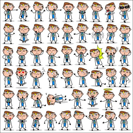Many Poses of Cartoon Doctor - Set of Concepts Vector illustrations Çizim