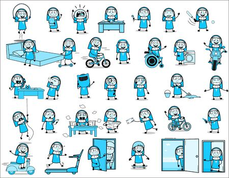 Collection of Nun Lady - Set of Concepts Vector illustrations Stock Illustratie