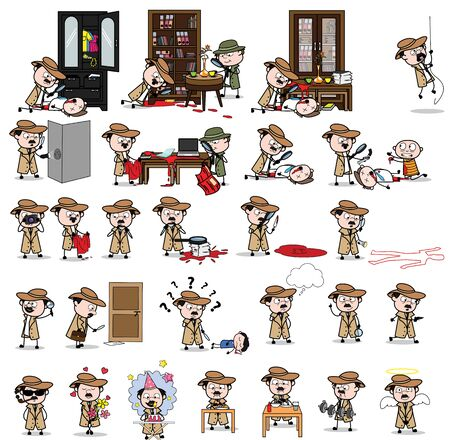 Cartoon Detective Agent - Set of Concepts Vector illustrations