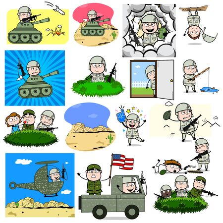 Comic Army Man Characters - Set of Concepts Vector illustrations