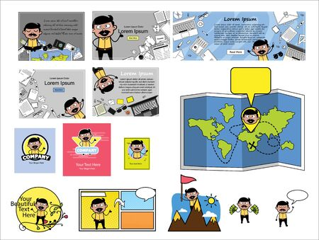 Various Templates with Comic Indian Man Characters - Set of Concepts Vector illustrations Ilustração