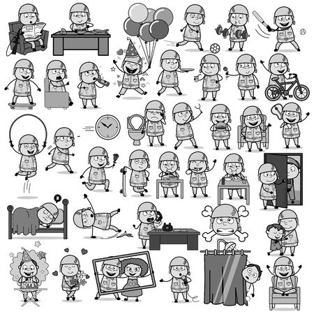 Retro Cartoon Army Man Character - Set of Concepts Vector illustrations