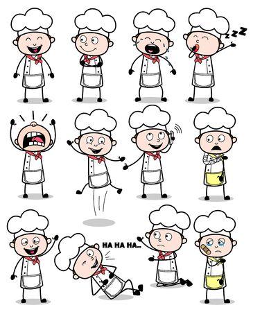 Colección de dibujos animados Chef - Conjunto de ilustraciones de vectores de conceptos