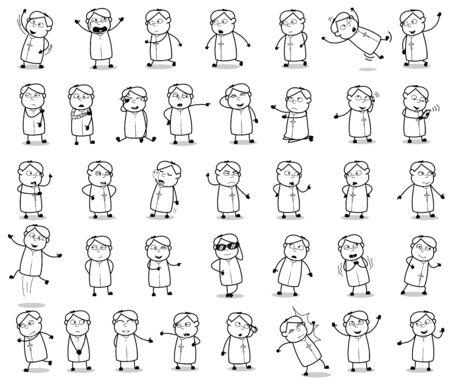 Comic Retro Priest Monk Poses - Set of Concepts Vector illustrations Vetores