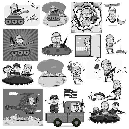 Various Retro Comic Army Man - Set of Concepts Vector illustrations Ilustração