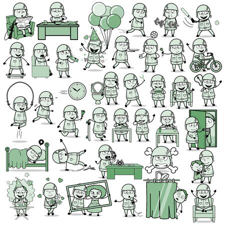 Various Vintage Army Man Characters - Set of Concepts Vector illustrations