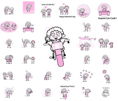 Comic Vintage Old Granny Character - Set of Concepts Vector illustrations Illustration