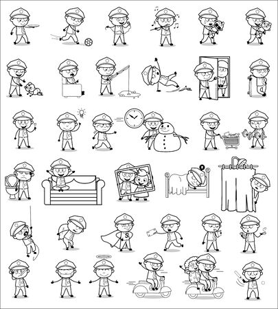 Cartoon Policeman Cop Drawing Collection - Set of Concepts Vector illustrations