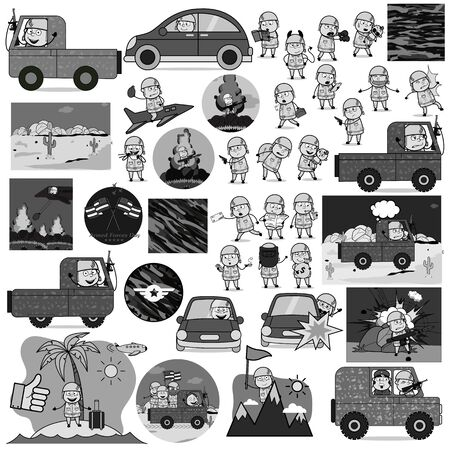 Collection of Retro Comic Army Man - Set of Concepts Vector illustrations