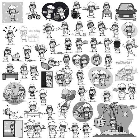 Retro Comic Waitress Concepts - Various Concepts Vector illustrations