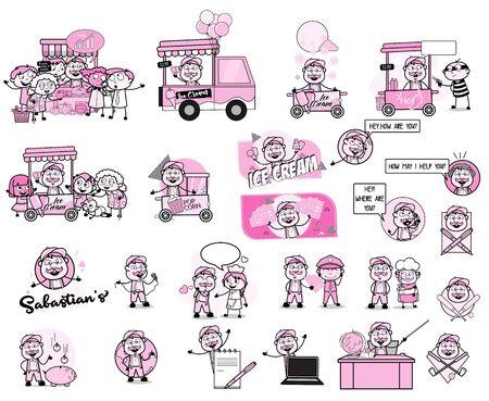 Various Cartoon Vendor Character - Set of Vintage Concepts Vector illustrations