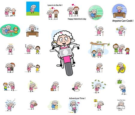 Old Granny - Set of Concepts Vector illustrations