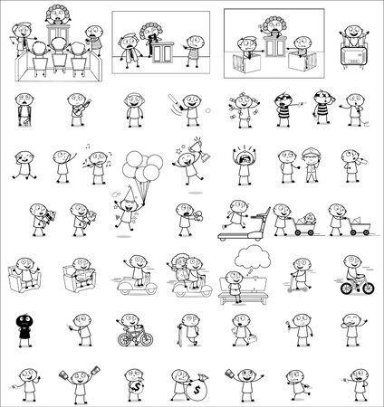 Comic Thief - Set of Black and White Concepts Vector illustrations