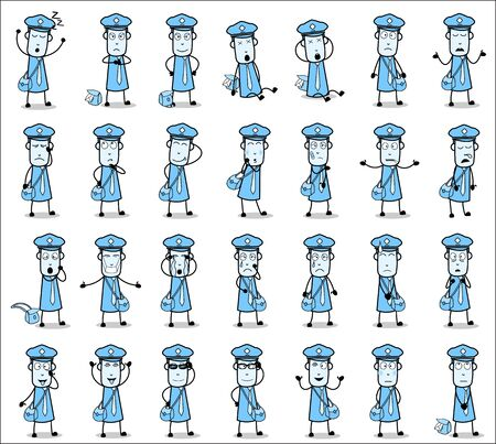 Different Poses of Comic Postman - Set of Concepts Vector illustrations