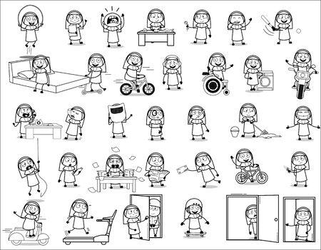 Cartoon Retro Nun Lady - Set of Concepts Vector illustrations