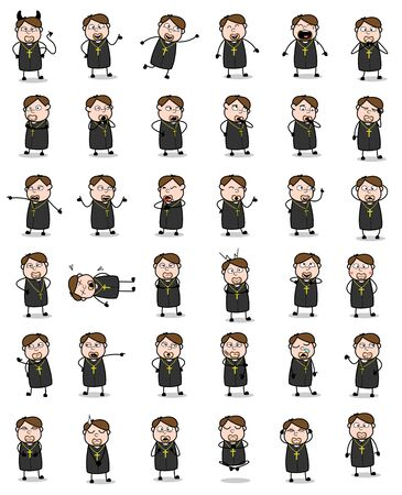 Poses of Cartoon Priest Monk - Set of Concepts Vector illustrations  イラスト・ベクター素材