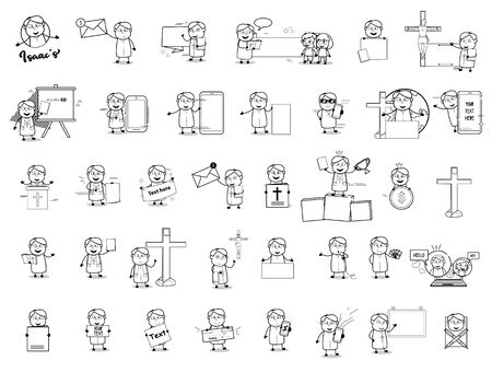 Dibujo de personaje de monje sacerdote - conjunto de ilustraciones de vectores de conceptos