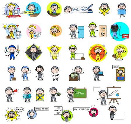 Cartoon Labor Repairman Character - Set of Concepts Vector illustrations