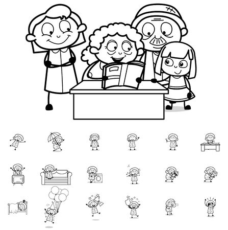 Comic Retro Old Granny - Collection of Concepts Vector illustrations