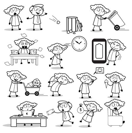 Retro Art of Office Lady - Set of Concepts Vector illustrations