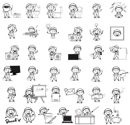 Drawing of Labor Repairman Character - Set of Concepts Vector illustrations