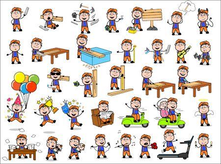Cartoon Carpenter - Set of Concepts Vector illustrations