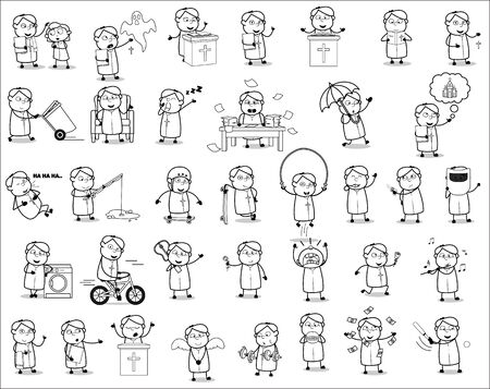 Drawing Art of Priest Monk - Set of Concepts Vector illustrations