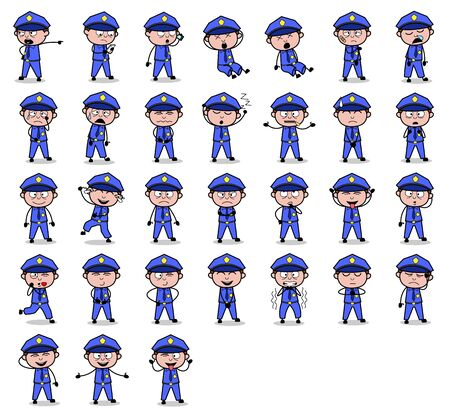 Collection of Policeman Cop Poses - Different Concepts Vector illustrations