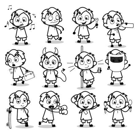 Ragazzo dell'ufficio in bianco e nero retrò - Set di illustrazioni vettoriali di concetti Vettoriali
