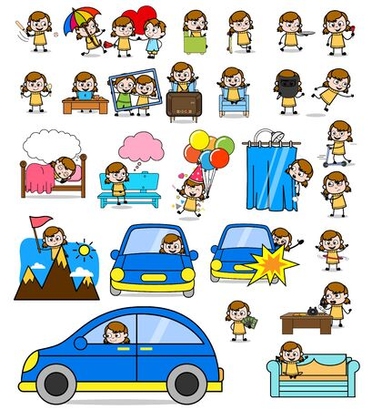 Comic Young Teen Character - Set of Concepts Vector illustrations