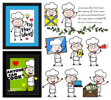 Cartoon Chef Various Activities - Collection of Concepts Vector illustrations