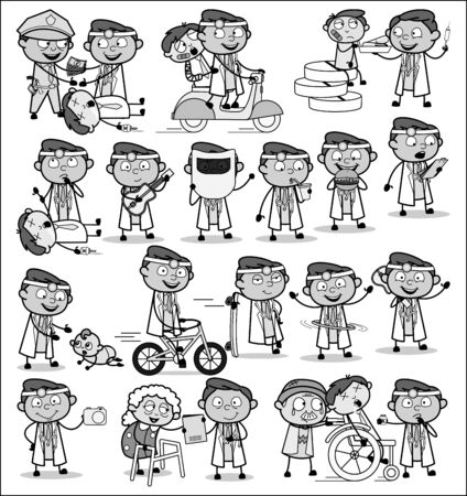 Comic Black and White Doctor Character - Set of Concepts Vector illustrations