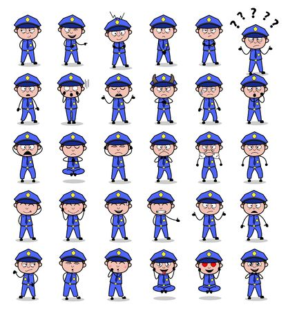 Poses of Young Cartoon Policeman Cop - Set of Concepts Vector illustrations