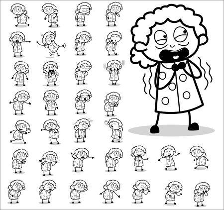 Funny Retro Cartoon Old Granny Character - Set of Concepts Vector illustrations Çizim