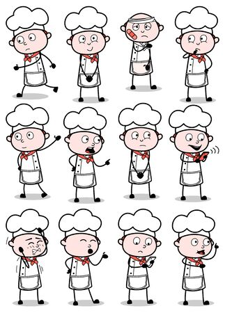 Comic Vintage Chef Poses - Set of Concepts Vector illustrations Illustration