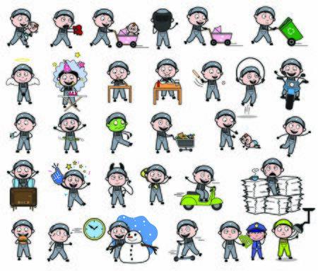 Cartoon Repairman Character - Set of Concepts Vector illustrations Illusztráció