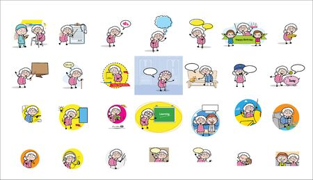 Concepts of Funny Comic Old Granny- Set of Various Vector illustrations