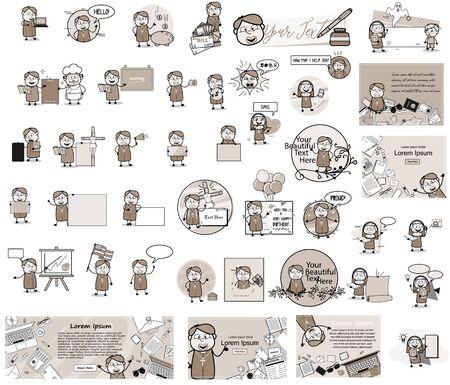 Various Catholic Priest Monk Character - Set of Concepts Vector illustrations Illusztráció