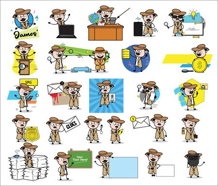 Many Concepts with Detective Agent - Set of Concepts Vector illustrations