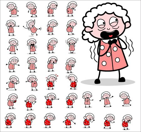 Vintage Old Granny Character Concepts - Different Vector illustrations