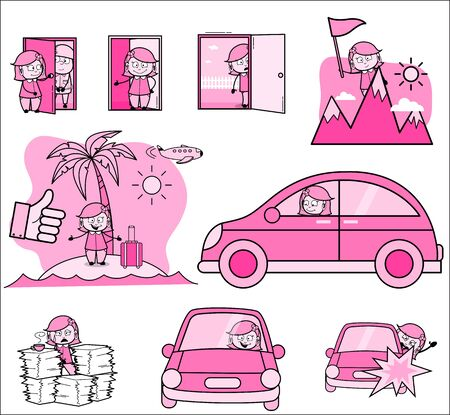 Cartoon Housewife with Various Vintage Concepts - Set of Concepts Vector illustrations Banque d'images - 137760476