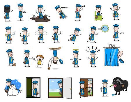 Cartoon Postman Character - Set of Retro Concepts Vector illustrations
