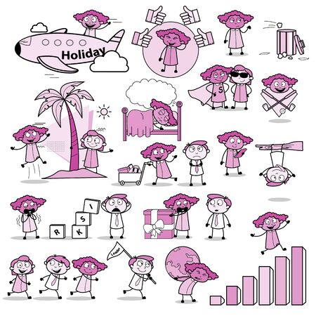 Set of Comic Office Lady - Set of Concepts Vector illustrations