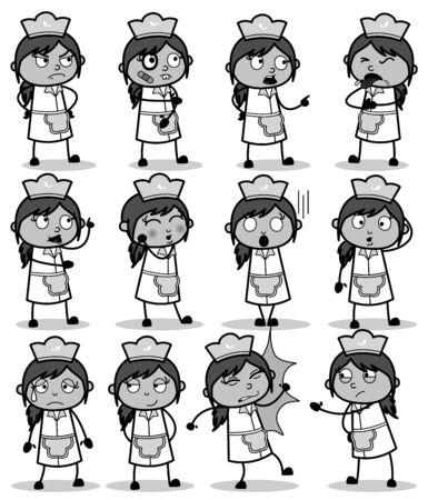 Poses of Retro Cartoon Waitress - Set of Concepts Vector illustrations