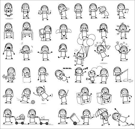 Retro Comic Nun Lady - Set of Concepts Vector illustrations
