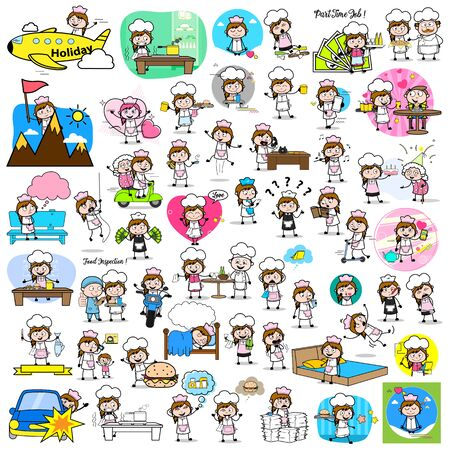 Collection of Cartoon Waitress - Set of Concepts Vector illustrations